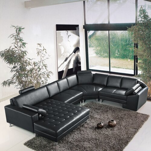Hokku Designs Vacaville 4 Piece Leather Sectional
