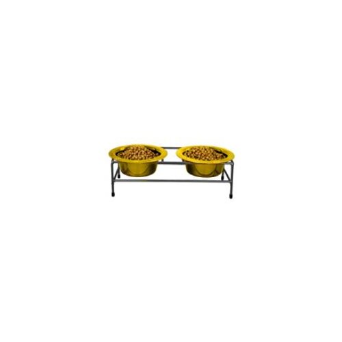 Platinum Pets Modern Double Diner with 2 Wide Rimmed Bowls