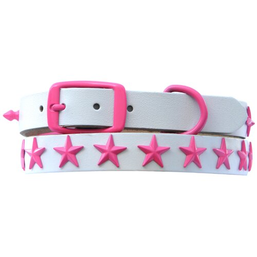Platinum Pets Genuine White Leather Dog Collar with Stars