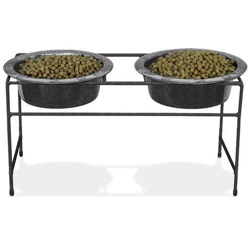 Platinum Pets Modern Double VeDiner with Two Wide Rimmed Bowls