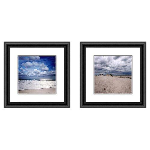 Pro Tour Memorabilia Coastal Cloudy Beach 2 Piece Framed Photographic Print Set