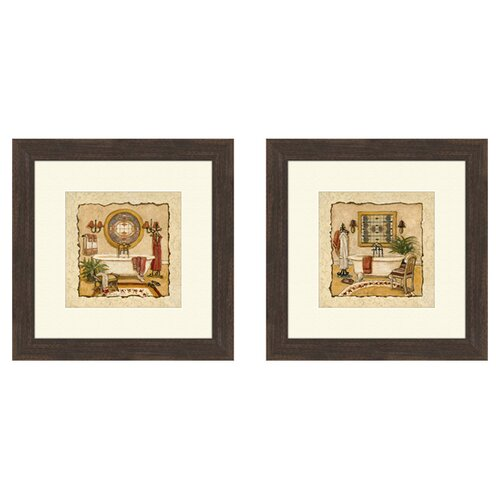 Pro Tour Memorabilia Bath Art Deco 2 Piece Framed Painting Print Set