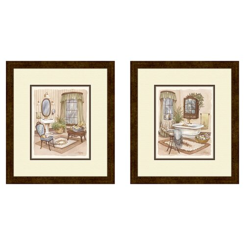 Pro Tour Memorabilia Bath Sage 2 Piece Framed Painting Print Set