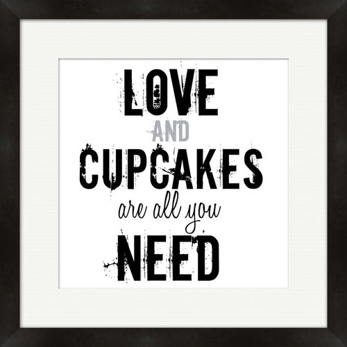 Love Cupcakes Framed Textual Art