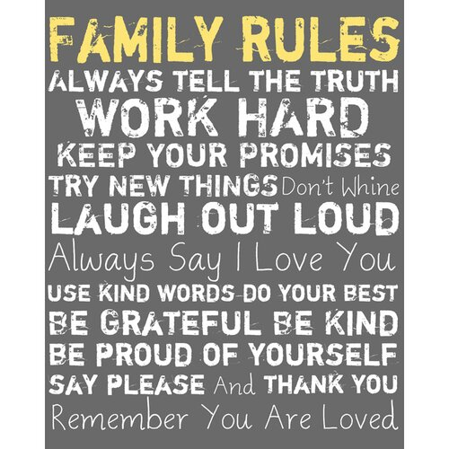 Family Rules Framed Textual Art on Canvas in Gray
