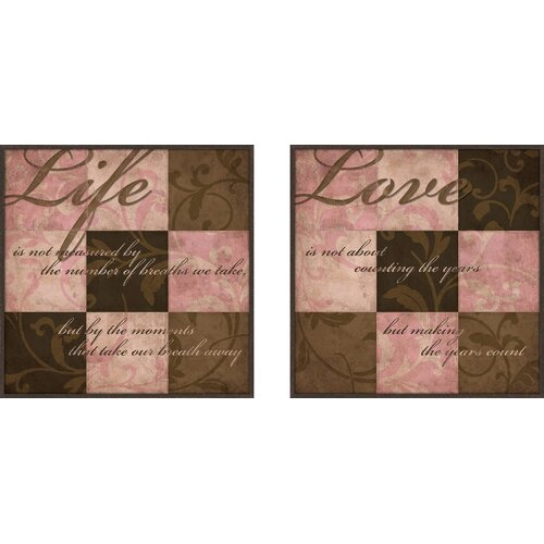 Pro Tour Memorabilia Love and Life 2 Piece Framed Textual Art Set