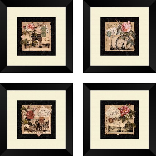 4 Piece Giolla Wall Decor Set : Pro tour memorabilia piece floral travel postcards wall