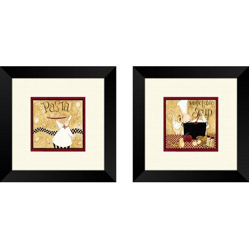 Pro Tour Memorabilia Kitchen Pasta Chef 2 Piece Framed Graphic Art Set