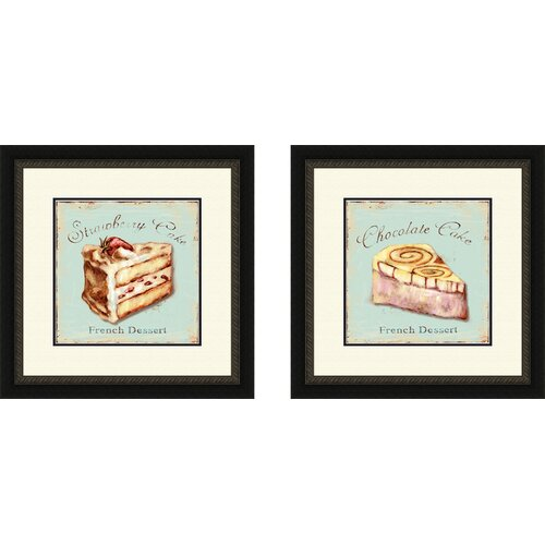 Pro Tour Memorabilia Kitchen Strawberry Cake 2 Piece Framed Vintage Advertisement Set