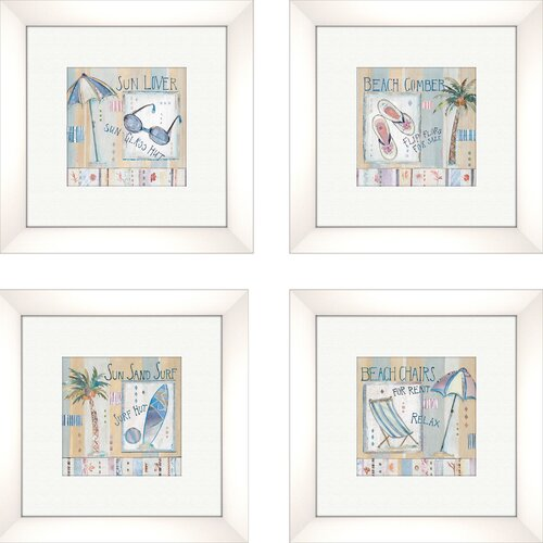 Pro Tour Memorabilia Coastal Sun Lover 4 Piece Framed Graphic Art Set