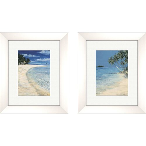 Pro Tour Memorabilia Coastal Clear Beach 2 Piece Framed Painting Print Set