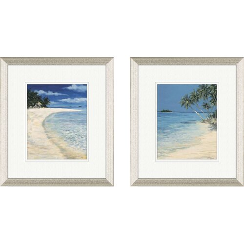 Pro Tour Memorabilia Coastal Beach 2 Piece Framed Painting Print Set