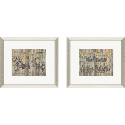 Pro Tour Memorabilia Coastal Beach House 2 Piece Framed Textual Art Set