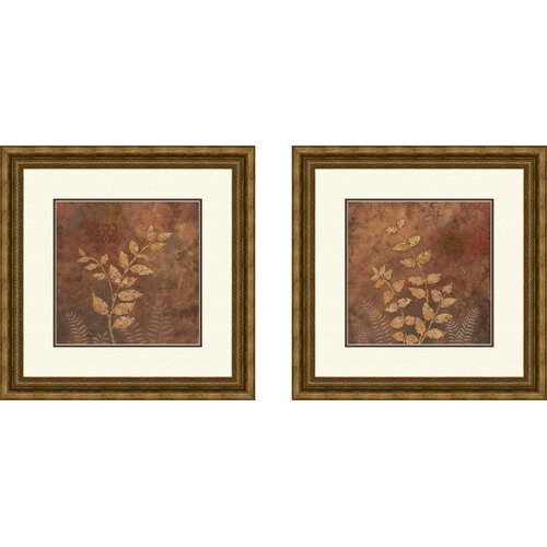 Botanical Evening Forest 2 Piece Framed Painting Print Set