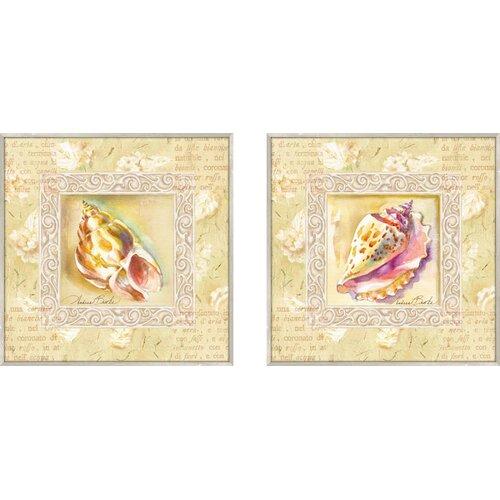 Bath Antiqua Conch 2 Piece Framed Painting Print Set