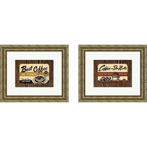 Pro Tour Memorabilia Vintage Best Coffee in Town 2 Piece Framed Graphic Art Set