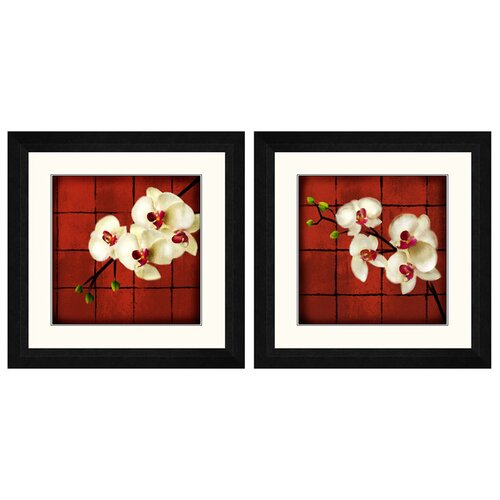 Floral 2 Piece Oriental Framed Graphic Art