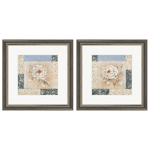 Pro Tour Memorabilia Floral Sapphire Bloom 2 Piece Framed Graphic Art Set