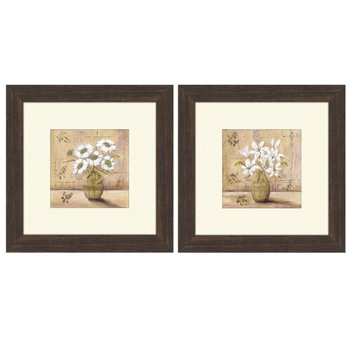 Pro Tour Memorabilia Floral Bouquet 2 Piece Framed Painting Print Set