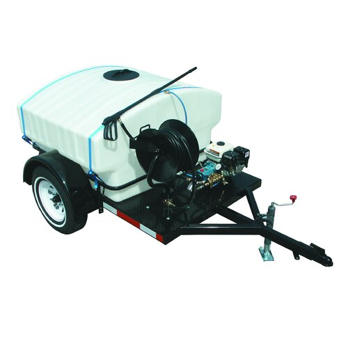 4000 PSI Cold Water Gas Trailer Mounted Standard Pressure Washer with 16 HP Vanguard Engine ...
