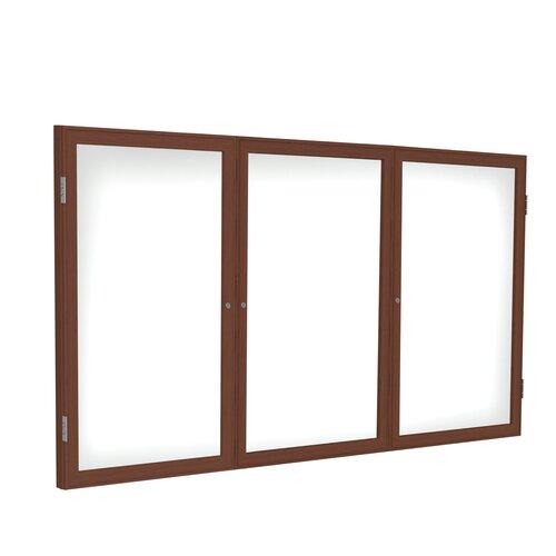 Ghent 3 Door Wood Frame Enclosed Porcelain Magnetic Whiteboard