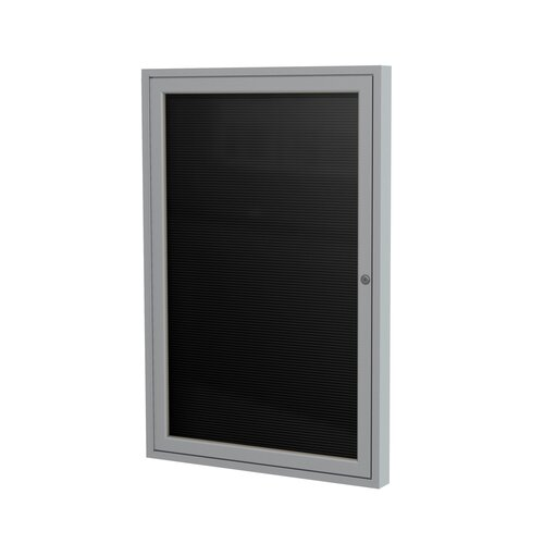 "Ghent 1-Door Aluminum Frame Enclosed Vinyl Letter Board - 3/4"" Gothic Font White Letters"