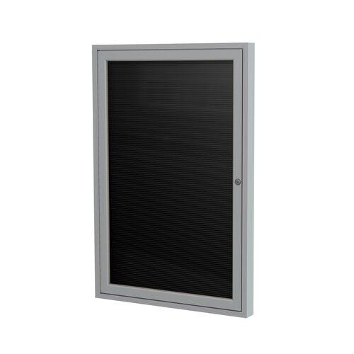 "Ghent 1-Door Aluminum Frame Enclosed Vinyl Letter Board - 3/4"" Gothic Font White Letters"