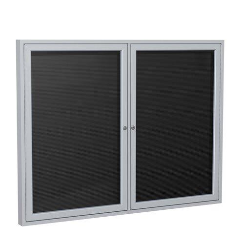 "Ghent 2-Door Aluminum Frame Enclosed Vinyl Letter Board - 3/4"" Gothic Font White Letters"