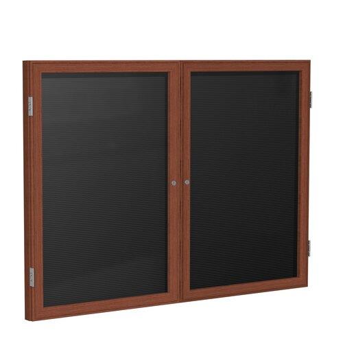 Ghent 2-Door Wood Frame Enclosed Flannel Letter board