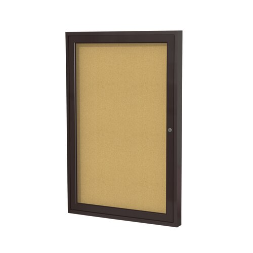 Ghent 1 Door Aluminum Frame Enclosed Natural Cork Bulletin Board