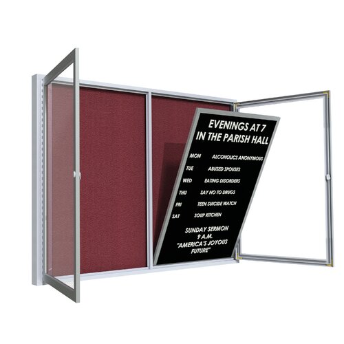 Ghent Satin Aluminum Frame Vinyl Letter Board Insert Panel for Outdoor Boards
