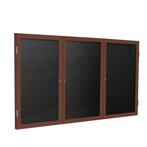 Ghent 3 Door Wood Frame Enclosed Flannel Letterboard