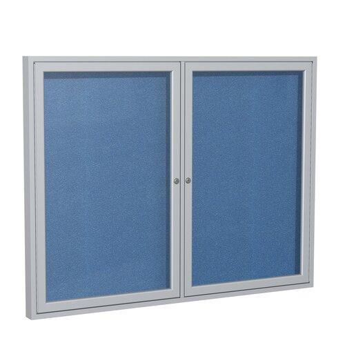 Ghent 2 Door Outdoor Aluminum Frame Enclosed Vinyl Bulletin Board