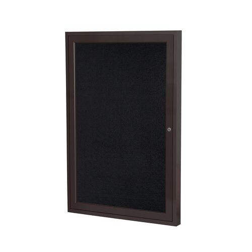 Ghent 1 Door Bronze Aluminum Recycled Rubber Bulletin Board
