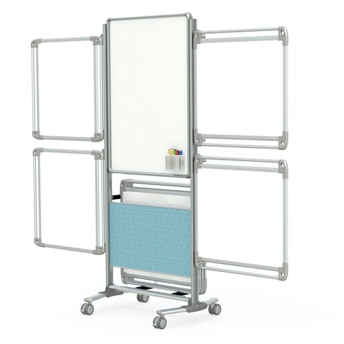 """Ghent Nexus 76.13"""" x 32.63"""" Easel Plus 2 Sided Mobile Porcelain Magnetic Whiteboard"""