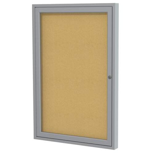 Ghent 1 Door Aluminum Frame Enclosed Natural Cork Bulletin Board