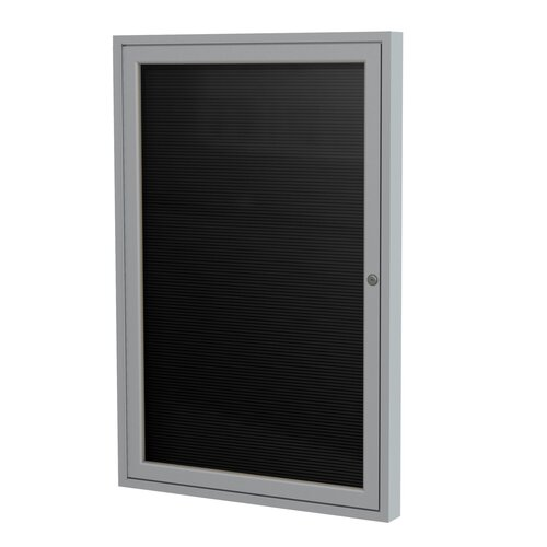 "Ghent 1-Door Aluminum Frame Enclosed Flannel Letter Board - 3/4"" Gothic Font White Letters"