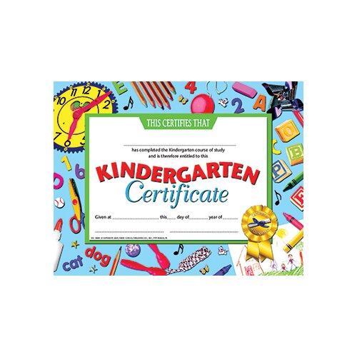 Hayes School Publishing Kindergarten Certificate