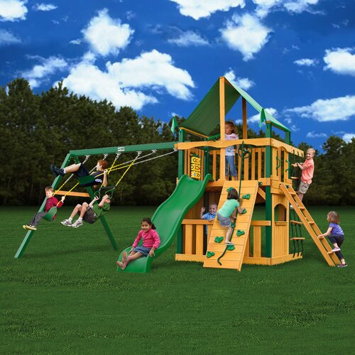 Gorilla Playsets Chateau II Clubhouse with Amber Posts and Canopy Cedar Swing Set