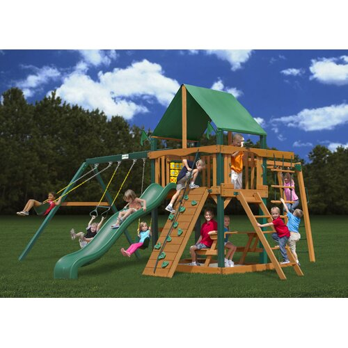Gorilla Playsets Navigator Swing Set with Green Vinyl Canopy