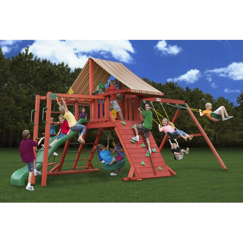 Gorilla Playsets Sun Climber II Swing Set with Brannon Redwood Sunbrella Canopy