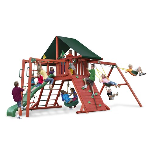 Gorilla Playsets Sun Climber II Swing Set with Canvas Green Sunbrella Canopy