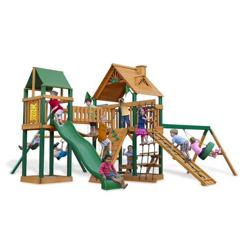 Gorilla Playsets Pioneer Peak Swing Set with Wood Roof Canopy