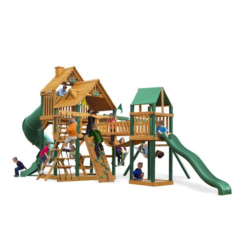 Gorilla Playsets Treasure Trove Swing Set with Wood Roof Canopy