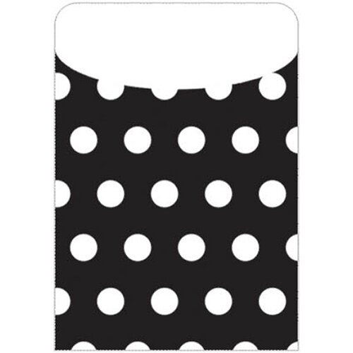 Top Notch Teacher Products Brite Pockets Blk Polka Dots 25/bag