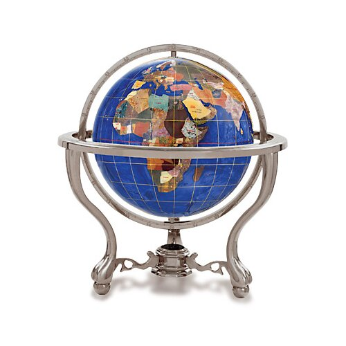 Gemstone Globe with Opalite Ocean and Commander 3-Leg Table Stand