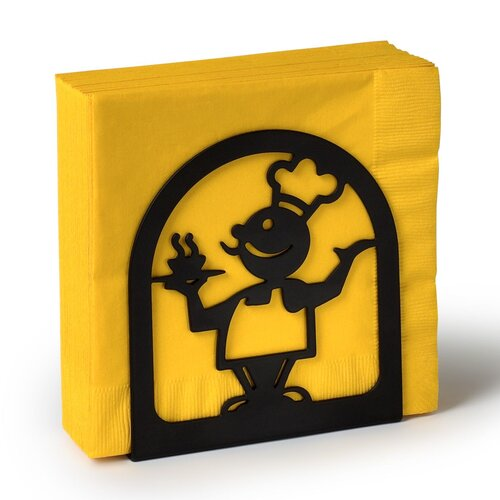 Silhouettez Pantry Chef Napkin Holder in Black