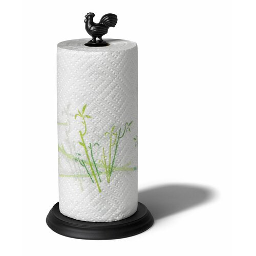 Rooster Paper Towel Holder in Black