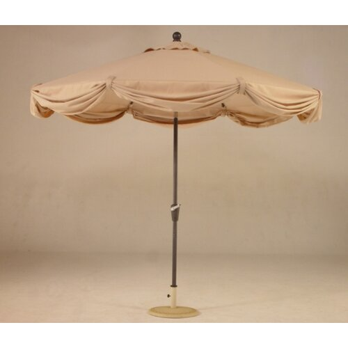 Royal Teak by Lanza Products 9' LED Light Scallop Market Umbrella