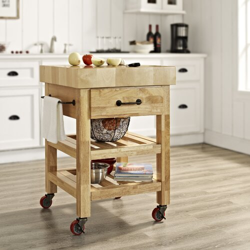 Crosley Marston Kitchen Cart with Butcher Block Top